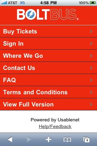 아이폰사파리로 접속하니 아이폰최적화된 페이지가 뜹니다. 여기서도 신용카드로 표를 바로 살 수 있습니다. 작은 버스회사가 참 센스가 있다는...