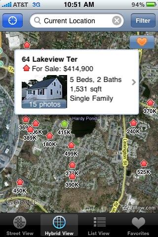 회사근처의 집값을 보여주는 Zillow앱