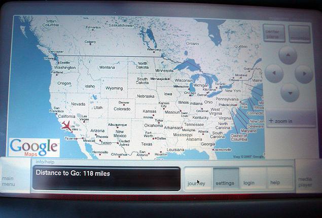 버진아메리카 항공편 좌석스크린에 탑재된 구글맵. 현재위치를 확인할수 있음.