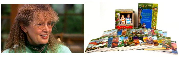 매직트리하우스의 저자 메리 포프 오스본과 그녀가 뉴웍의 초등학생 4천3백명에게 기증한 28권짜리 전집. 약 12만권. (Rock Center, Amazon캡처)