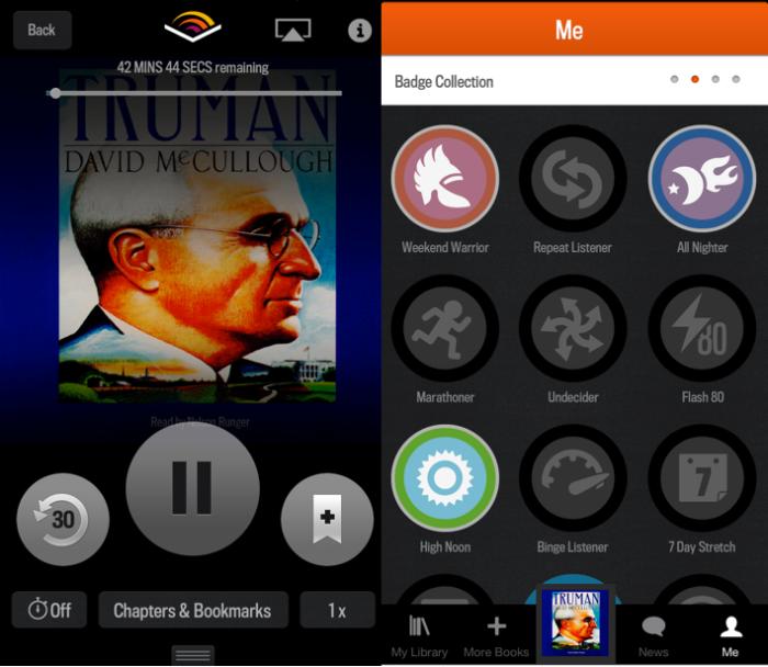 Audible의 아이폰앱화면. 앱에서 구매한 오디오북을 다운받아서 바로 들을 수 있다. 많이 들으면 마치 게임처럼 배지를 준다.