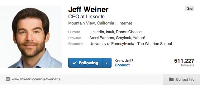 야후 임원출신인 링크드인CEO 제프 위너의 프로필.