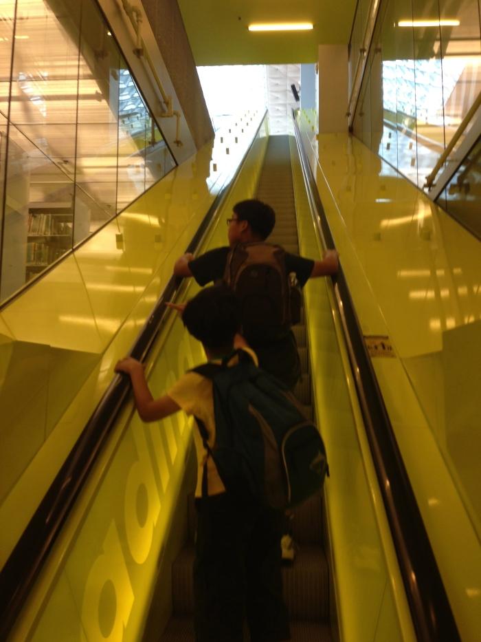 5층부터 10층까지 연결하는 일직선으로 된 긴 에스칼레이터.