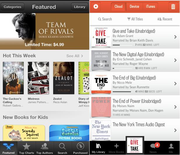 언제 어디서나 원하는 책을 바로 사서 볼 수 있는 아이북스스토어(US), 오른쪽은 오디오북을 사두었다가 언제든지 들을 수 있는 Audible app.
