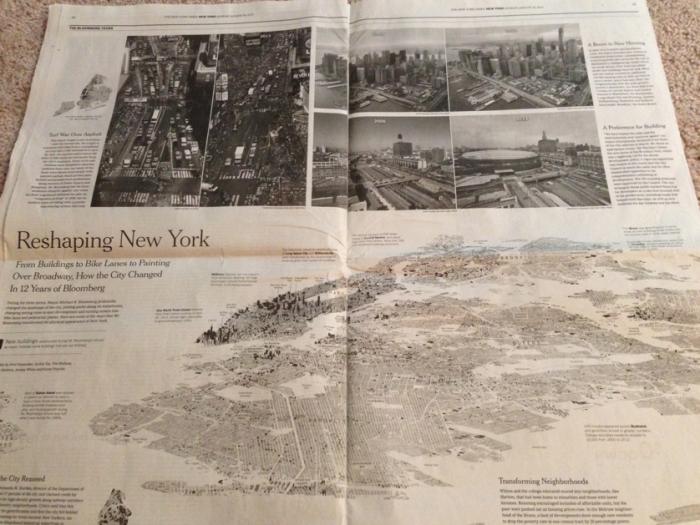 마이클 블룸버그가 뉴욕시장으로 재임한 12년간 뉴욕시가 얼마나 변모했는가를 보여주는 기사.