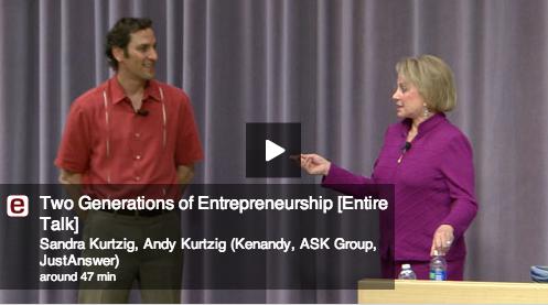 샌드라 커치그와 앤디 커치그 모녀는 2대에 걸친 창업정신에 대해 스탠포드대학에서 같이 강연에 나서기도 했다.