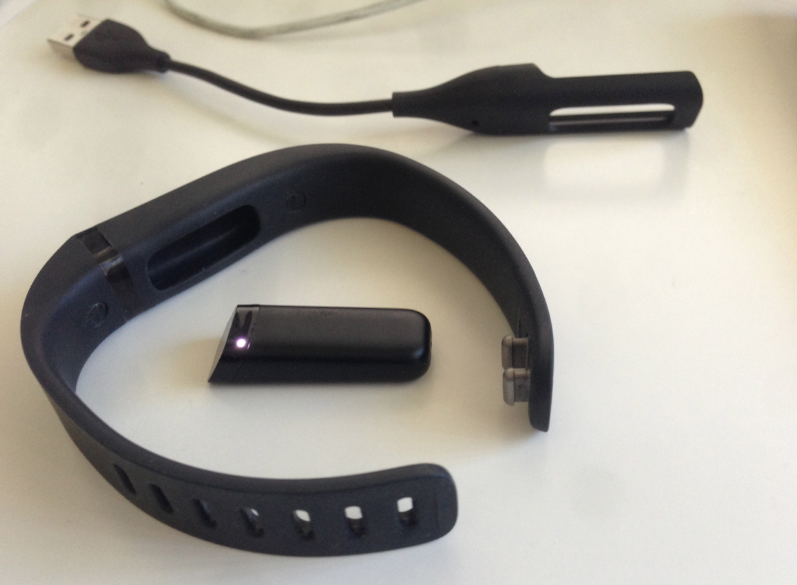 위 사진 가운데 보이는 조그만 막대모양기기가 Tracker. 이것을 팔찌에 끼워서 차고 다닌다. 그리고 충전할 때는 위에 보이는 USB커넥터로 한다.