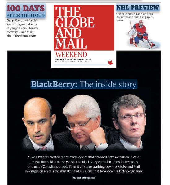 9월28일자 더 글로브앤메일 1면. 왼쪽부터 블랙베리 공동창업자인 짐 발실리와 짐 라자리디스 그리고 현 CEO인 토스텐 하인즈.