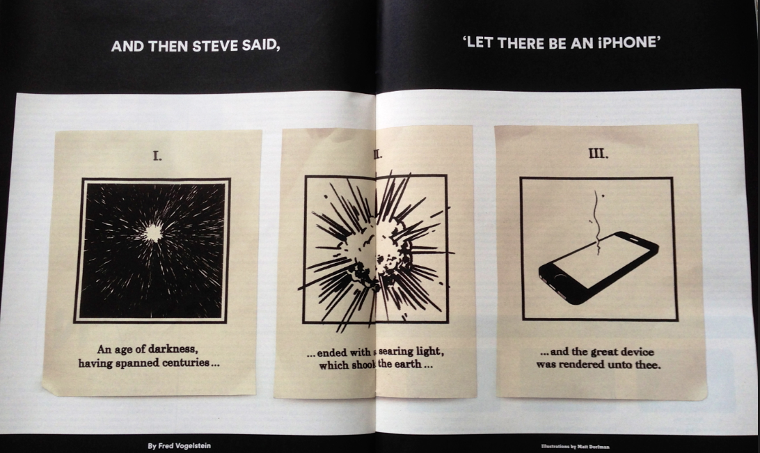 "NYT의 ""And Then Steve Said, 'Let There Be an iPhone'"" 기사는 일요판 NYT와 같이 배달되는 NYT매거진에 실렸다. 사진은 천지창조에 빗대 아이폰의 탄생을 그린 이 기사의 삽화."