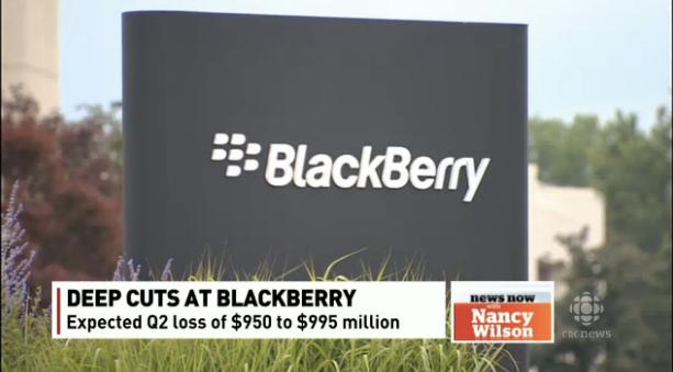 블랙베리의 경영위기에 대해서 보도하는 캐나다의 CBC방송화면.