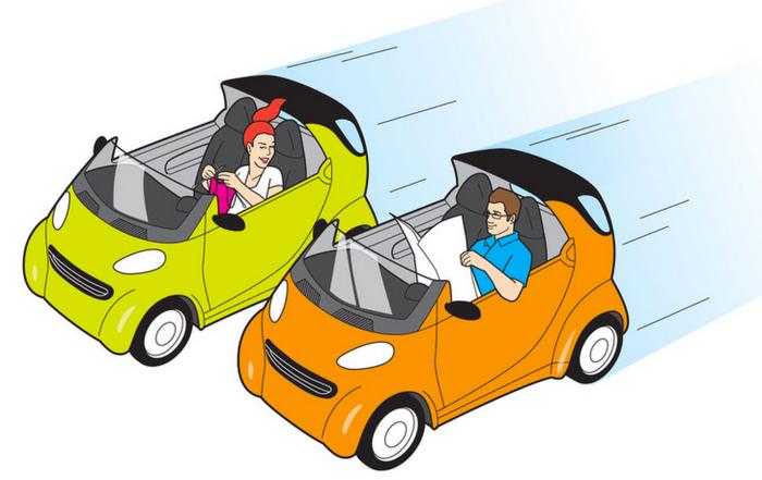지난 5월에는 무인자동차시대의 에티켓에 대해 나온 월스트리트저널(WS)기사가 실렸을 정도. (물론 유머기사) 그 기사에 실린 삽화.