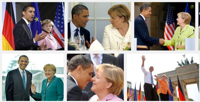 이미지 검색을 해보면 나오는 두 정상의 다정한 모습. NSA스캔들은 메르켈총리의 오바마에 대한 신뢰에 금을 가게 했다.(출처:구글이미지검색)