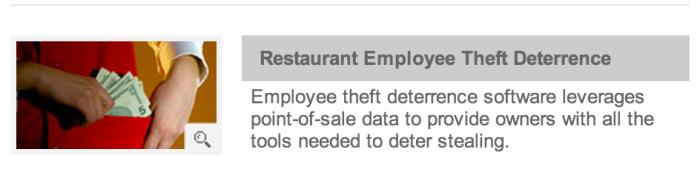 NCR Restaurant Guard라는 소프트웨어 소개문구. 레스토랑전산시스템의 Add-on으로 제공되는 것 같다. 시스템에 기록되는 종업원의 행동을 실시간으로 감시해 의심되는 건이 있으면 경보를 울린다.