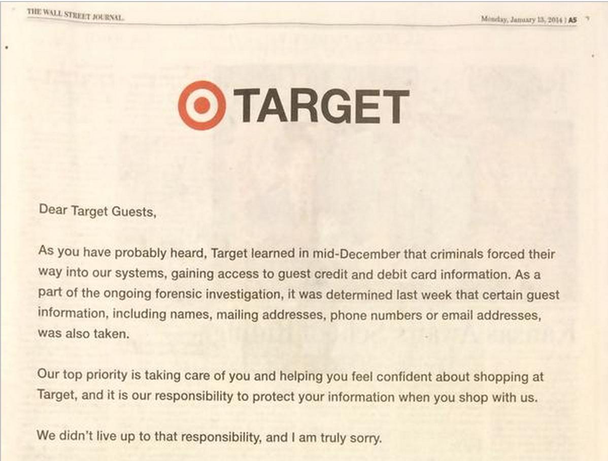 NYT, WSJ에 실린 타겟의 사과광고. 카드정보유출로 물의를 빚었었다.