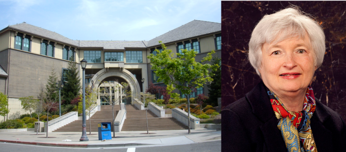 UC버클리 하스경영대학원건물과 자넷 옐런 연준의장(출처:위키피디아)