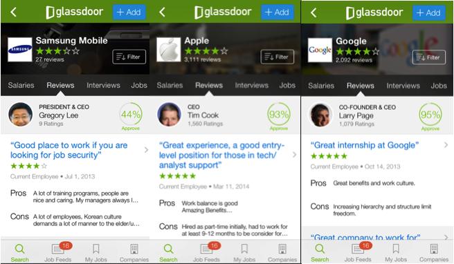 글래스도어 모바일앱에서 찾아본 삼성, 애플, 구글. 각 기업의 별점과 직원리뷰를 찾아서 읽어볼 수 있다.