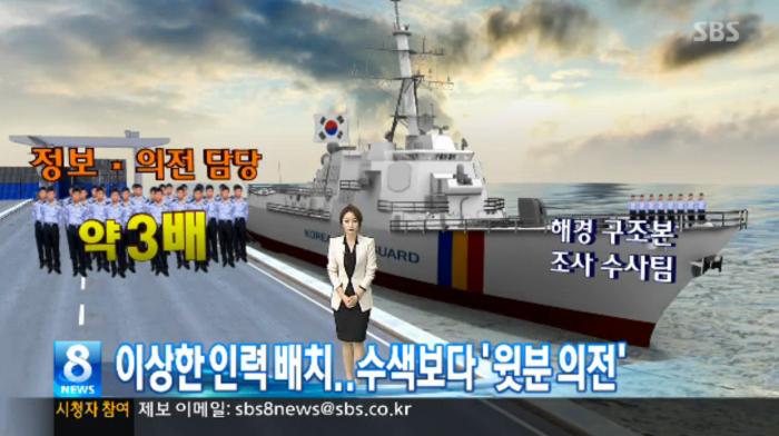 이상한 해경 인력 배치..수색보다 '윗분 의전'-SBS뉴스 5월7일보도. (위 사진을 누르면 기사로 이동)