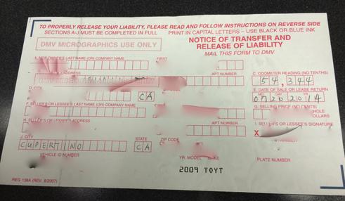 차 소유권이전을 알리는 신청양식. 자동차 타이틀의 윗부분 뒷면을 떼서 작성해서 DMV로 보내면 됨.
