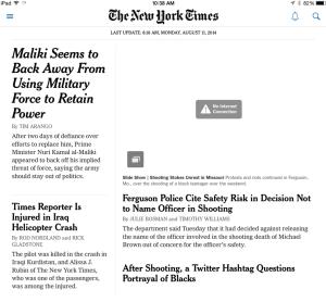 내 뉴욕타임즈 아이패드앱. 목요일날 열어본 것인데 월요일부터 계속 업데이트가 안되는 것을 알 수 있다.