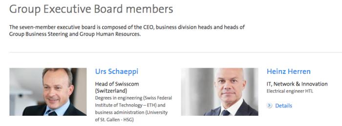 스위스콤 일행중 회사 홈페이지 경영진명단 제일 위에 나와있는 CEO와 CTO.