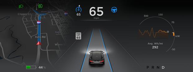 테슬라모델S의자동운전기능대시보드